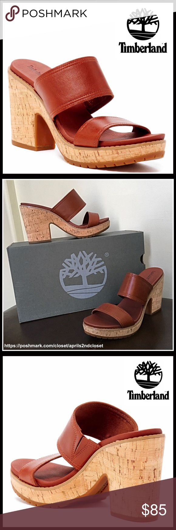"""⭐️⭐️ TIMBERLAND LEATHER PLATFORM SANDALS 💟NEW WITH TAGS💟 RETAIL PRICE: $120  TIMBERLAND LEATHER PLATFORM SANDALS   * Open toe; Double strap vamp w/stretch-to-fit inset goring  * Lightly cushioned footbed  * Genuine leather construction  * Approx. 3.75"""" high heels & 1"""" platform  * Textured grip sole, cork wooden look heel, & slip-on construction   * True to size    Material-Leather upper, Manmade sole  Color: Brown , tan  Item# 🚫No Trades🚫 ✅ Offers Considered ✅ SEARCH# cognac mule Clog…"""