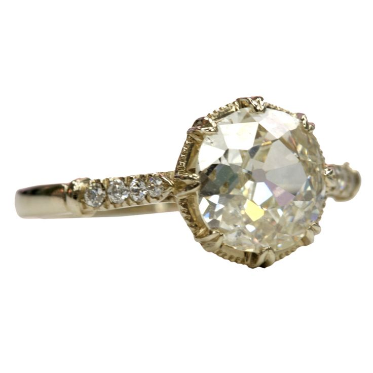 """1.57ct N/VS2 old Mine cut diamond set in an 18kt Natural white gold hand crafted """"Single Stone"""" mounting."""