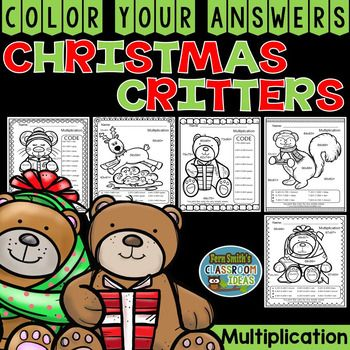 """Five Christmas Critters Color Your Answers Advance Multiplication Printables, Answer Keys Included. This math resource includes: * Five Two Digit By Two Digit Multiplication Color By Number Printables  * Five Answer Keys that are color coded and have the exact answer. For example, 52 x 32 = 1,664 and """"blue.""""  #FernSmithsClassroomIdeas"""