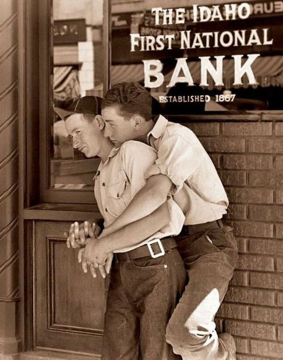Affection in Idaho, c. 1950's.  I have very serious doubts about people who are offended by acts of affection.  As for this photo, it's tender and cool without being all schmaltzy.