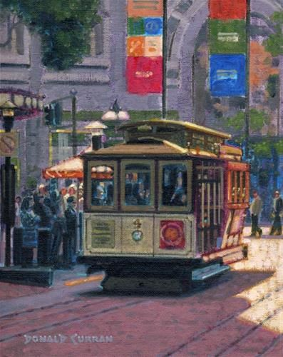 """Daily Paintworks - """"San Francisco Trolley"""" - Original Fine Art for Sale - © Donald Curran"""