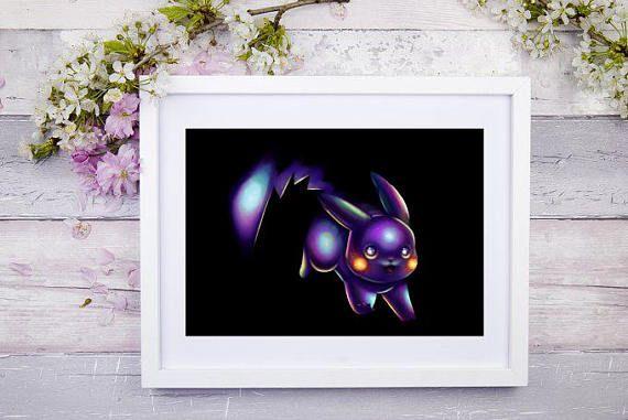 Midnight Pikachu Art Signed Print Pokemon Art Pokemon