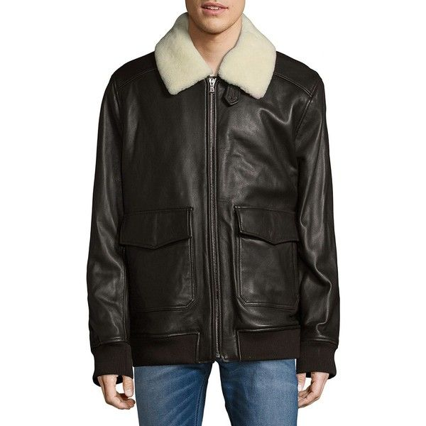 Michael Kors Sherling Touch Aviator Jacket ($315) ❤ liked on Polyvore featuring men's fashion, men's clothing, men's outerwear, men's jackets, mens aviator jacket, mens leather jackets, mens jackets and men's leather aviator jacket