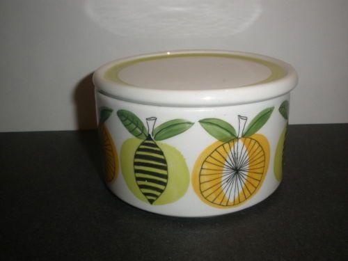 Mid-Century-Arabia-Finland-Jam-Pot-with-Lid-Orange-Lemon-1967