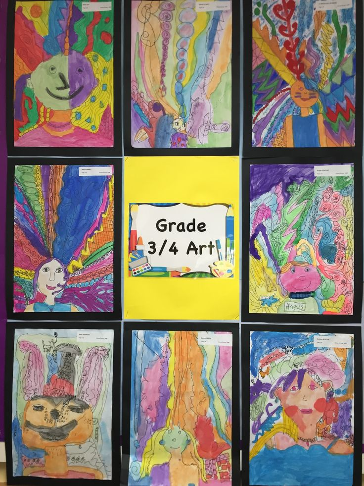 Grade 3/4 self portraits. A great way for our students to show creativity and personality!
