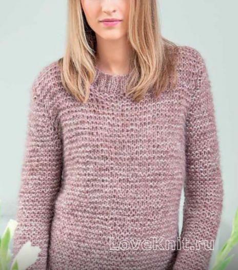 Спицами мохеровый пуловер платочной вязкой фото к описанию