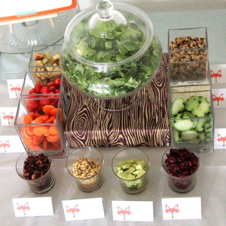 Baby Shower Menu  Salad Bar And Mini Sandwiches. I Like The Wood Grain Paper