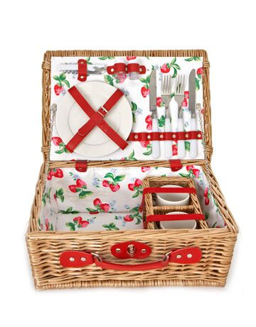 strawberries picnic basket. I want a picnic basket so bad! But I want all the plates and utensils in it too.
