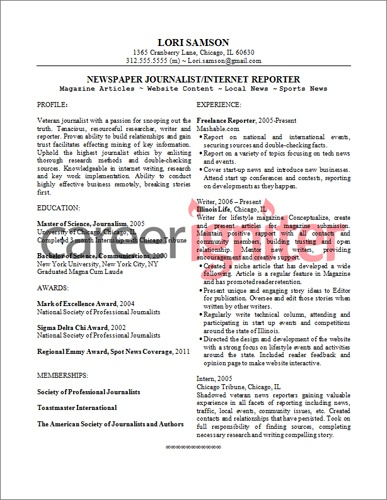 Business Reporter Resume Sample