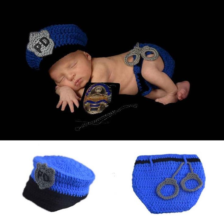Police Baby Photography Prop Outfit Hat Cap Halloween Costume Newborn Infant