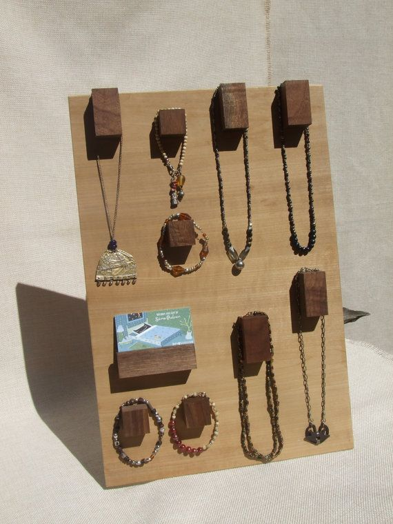 Raw Wood Jewelry Display Hanger - Modern Hooks for Necklaces and Bracelets