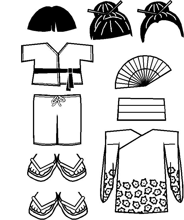 paper doll Japanese Friends clothes