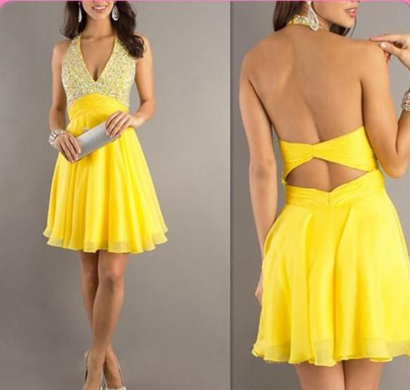2016 Youthful Halter Yellow Cocktail Dresses, Beaded Backless mother dress, Empire Homecoming Dress, Short Mini Quinceanera Dresses