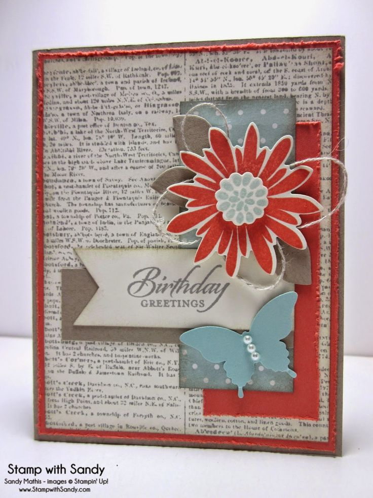 Stampin Up! Flower Patch, Flower Fair, Dictionary Background Stamp, Papillion Butterfly.  Calypso Coral, Crumb Cake, Soft Sky, Smoky Slate, Very Vanilla.  Stamp With Sandy: Dictionary Birthday Greetings, FM169, CTD301 & DS159