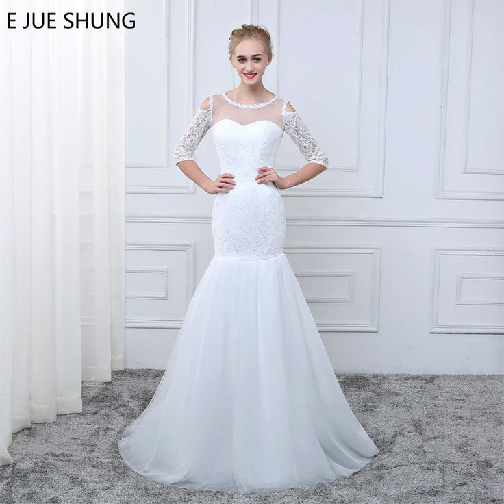 E JUE SHUNG 2018 White Lace Off the Shoulder Mermaid Wedding Dresses Appliques Sheer 3/4 Sleeves Cheap Beach Wedding Gowns
