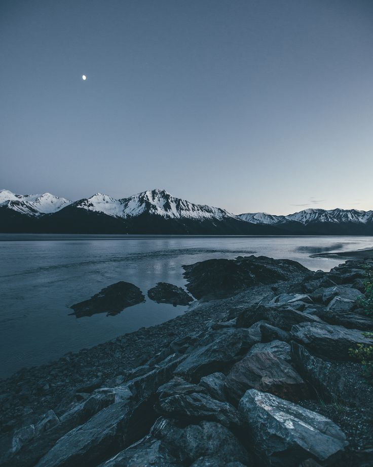 Midnight Sun and Moon near Anchorage, Alaska --- by Dylan Furst on 500px