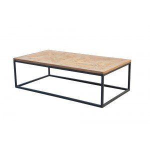 Reclaimed Parquet Wood & Iron Coffee Table