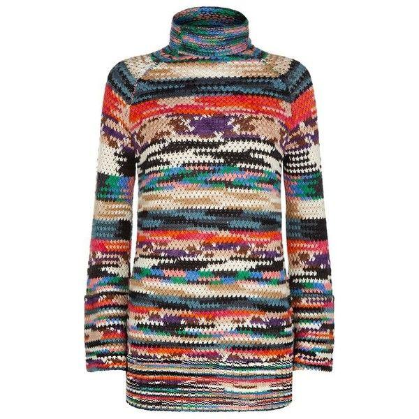 Missoni Dolce Vita Polo Neck Dress (£725) ❤ liked on Polyvore featuring dresses, loose fitting dresses, vintage style dresses, turtleneck dress, striped turtleneck top and striped loose dress