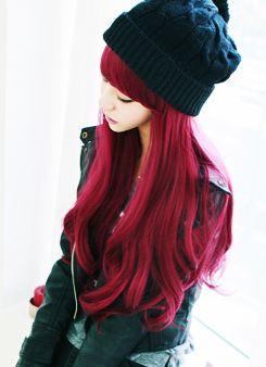 cabello de colores, color hair, tinte fantasía, cabello rojo rosado, rojo frambuesa