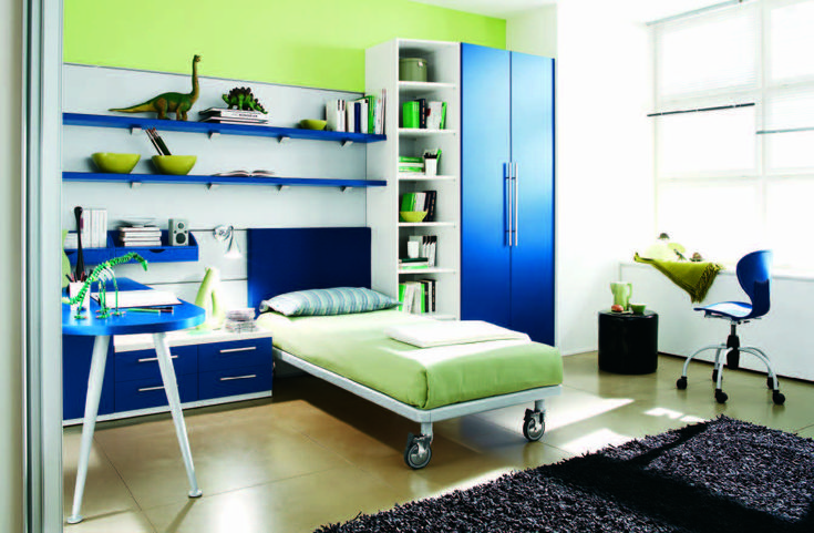 Serene Bedroom Inspiration with White Combined Green Wall Paint Color also Coemly Black Square Carpet Area and White Frame Bed also Modern Cabinet and Blue Shelves and Blue Cupboard