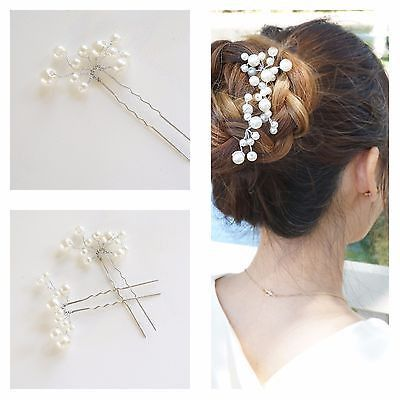 5 Bridal Hair Pins, Pearl Pins Barrettes, Pearl Cluster Wedding Hair Accessories