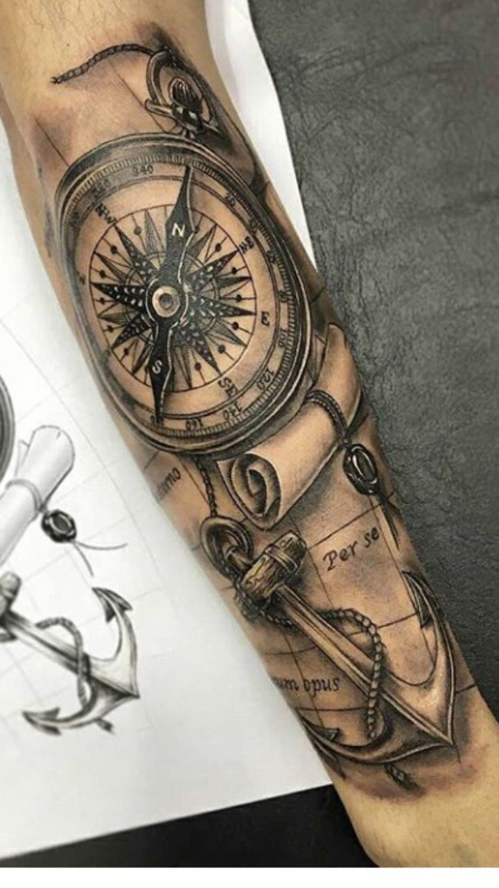 Compass Anchor Compass Anchor Compass Anchor Compasstattooideasfor Compass Anchor In 2020 Arm Tattoos For Guys Tattoo Sleeve Designs Sleeve Tattoos