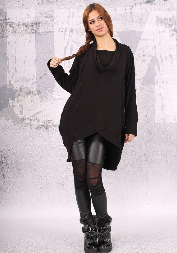Tunique de dessus / asymétrique noir / plus taille tunique top / surdimensionné / manches longues tunique / black Sweat-shirt coton matelassé - QC002