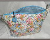 THIS BAG SOLD .......................................Country Roses Pastel Cosmetic Bag - Fabric quilted by me and discounted by 10% now until April 30th, 2014