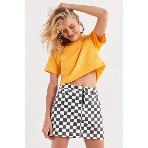 BDG Checkered Denim Zip Mini Skirt ($59) ❤ liked on Polyvore featuring skirts, mini skirts, high waisted denim skirt, high-waist skirt, denim mini skirt, mini circle skirt and denim skater skirt