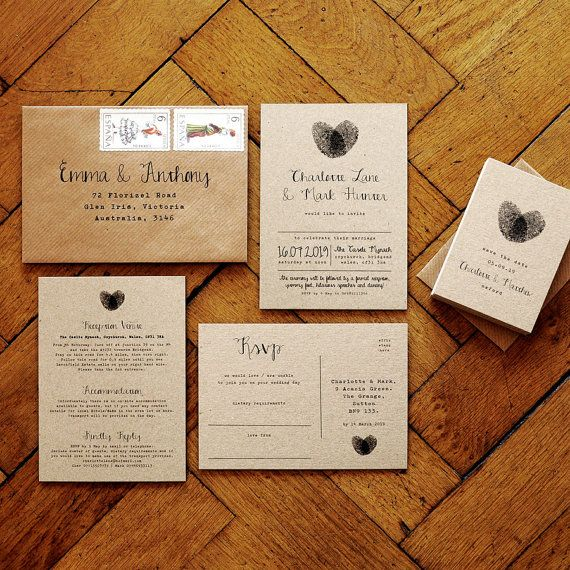 Fingerprint Calligraphy Wedding Invitation Set on Recycled Kraft Card - wedding invites Wedding invitations UK Wedding invitations Australia