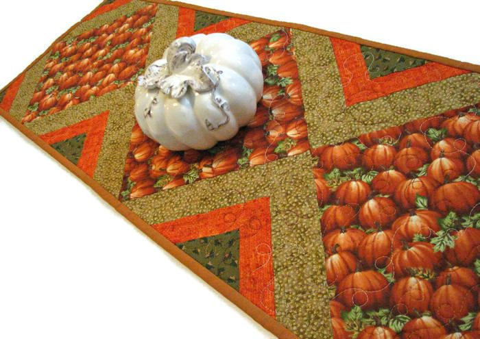 Autumn Quilted Table Runner, Pumpkin Table Mat, Harvest Table Topper, Quiltsy Handmade by VillageQuilts on Etsy