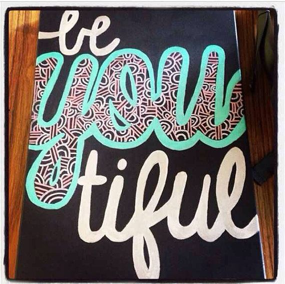 Be youtiful canvas painting by SouthernSweetArt on Etsy, $27.00