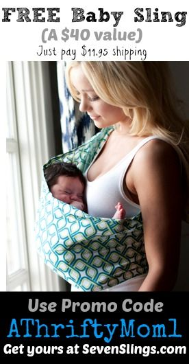 FREE baby sling, from sevenslings.com. Such an awesome FREEBIE just pay shipping #Gift #Baby #Free #BabySling