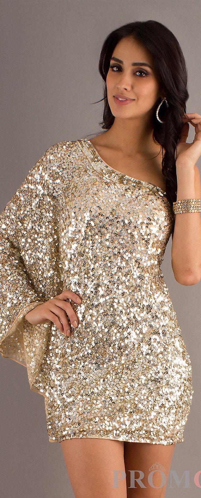 One shoulder gold sequin cocktail dress