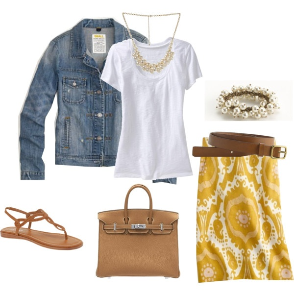 cuteSummer Outfit, Jeans Jackets, Yellow Skirts, Jean Jackets, Denim Jackets, Cute Outfit, Casual Looks, Spring Outfit, Spring Summe