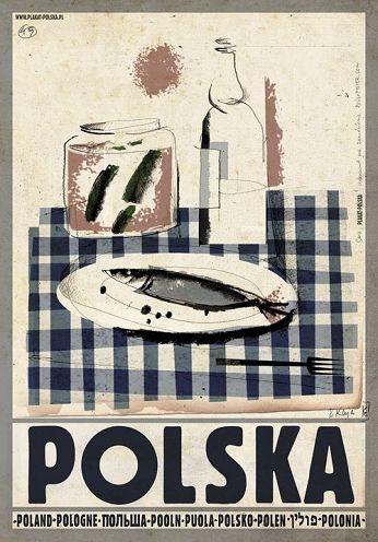Polska wodka i sledzik   Zobacz inne plakaty z serii PLAKAT-POLSKA Oryginalny polski plakat autor plakatu: Ryszard Kaja  data druku: 2013 wymiary plakatu: B1 ok. 68x98cm