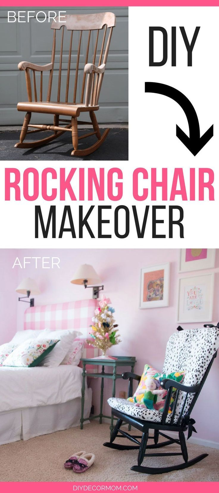 OMG! This upholstered rocking chair cushion makeover is crazy! If you have an old rocking chair you want to update, this tutorial is perfect! See the best tricks to save time and money on it here-- srcset=