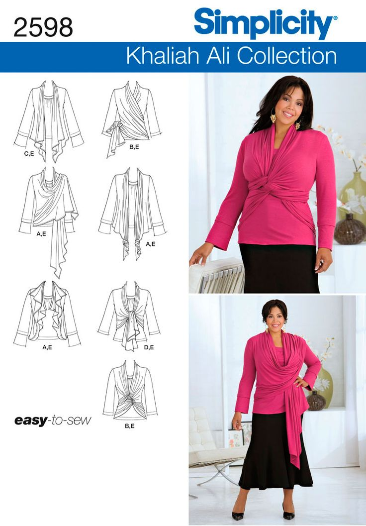 2598 Plus Size Tops Plus Size Khaliah Ali Collection knit top and cardi-wrap sewing pattern.