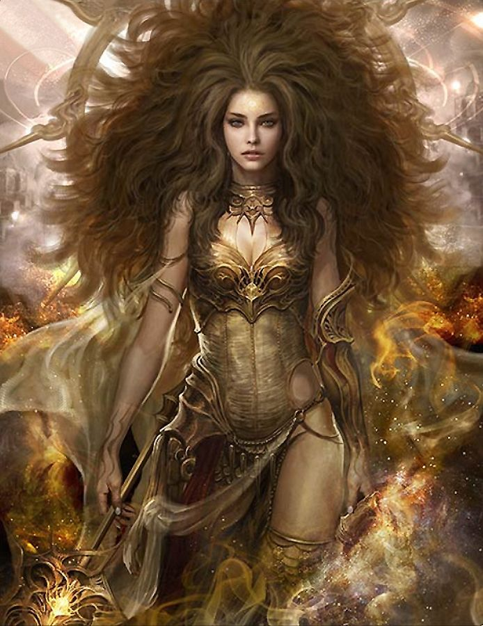 Female human or fey, sorceress, maybe a cleric?  Beautiful,  almost like a goddess. Don't know the artist?