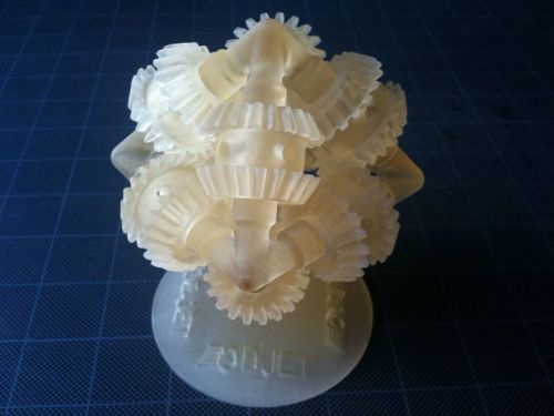 More 3D Printed gears.  The Objet 3D printer kind of makes us drool a little.  It can print working assemblies, quite literally with no assembly required.