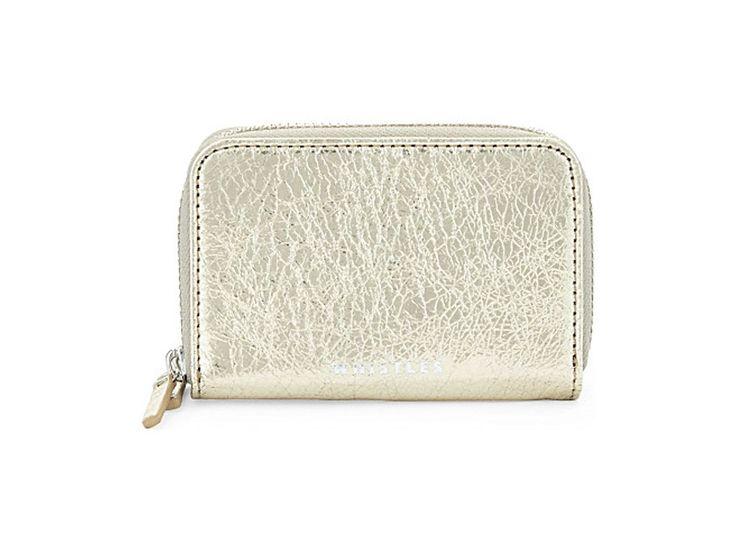 WHISTLES Metallic mini leather purse