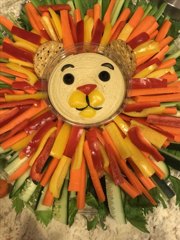 Simba inspired veggies tray for lion king baby shower