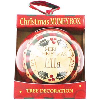 Personalised Money Box Bauble - Ella   Money Boxes at The Works