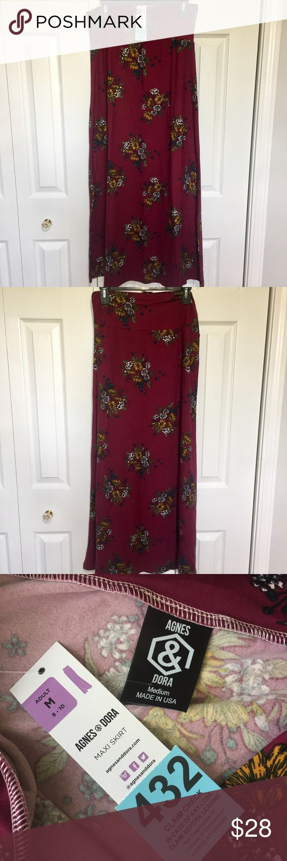 Agnes and Dora maxi skirt #432 Agnes and Dora maxi skirt. I used to be a rep for this company. This is a floor length skirt with yoga waistband. You can roll or fold waistband to adjust length. Measurements taken flat and in inches. Waist 151/2. length 401/2. colors: cranberry, mustard, white, olive, and blue. Agnes & Dora Skirts Maxi