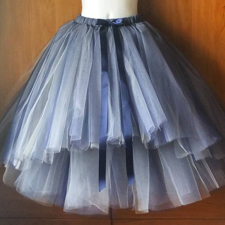 layered tulle skirt with tiered front. Navy and Champagne tulle blend. So classy for flower girls and weddings!