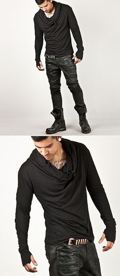 Tops :: Striking Turtle Neck Arm Warmer Tee - 115 - New and Stylish - Fast Mens Fashion - Mens Clothing - Product