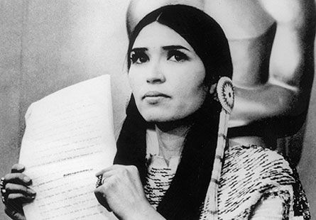 Sacheen Littlefeather, refusing the 1973 Best Actor Oscar on behalf of Marlon Brando (The Godfather). Brando was protesting the entertainment industry's depiction of Native Americans in film and television, as well as what were then the recent events at Wounded Knee.