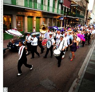 (Love this energy!) A New Orleans tradition, a second line band escorted the parade to Nola, where the party continued. Colleen and Brad ordered personalized parasols for the wedding party and gave out hankies to all the guests to wave as they walked down the street.