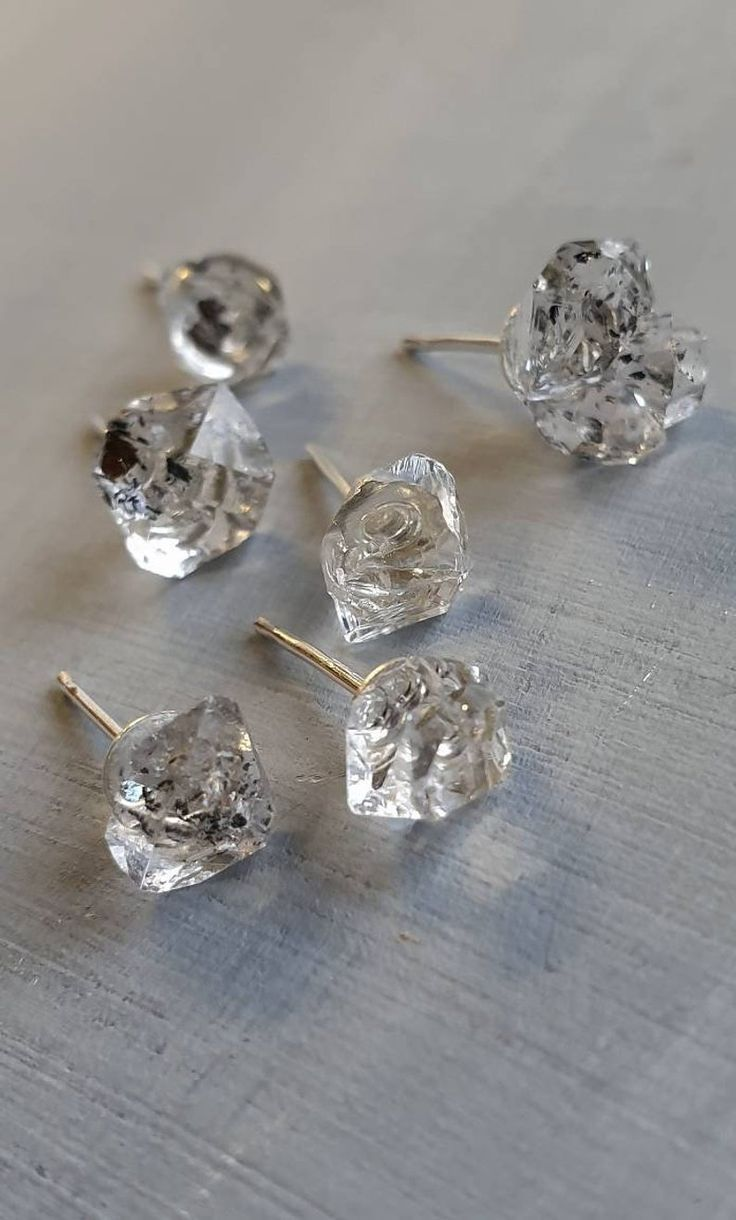 Herkimer Diamond Earrings April Birthstone Raw Herkimer Diamond Studs Raw Crystal Wife Gift For Sister Gift For Husband Sterling Silver