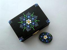 Regalo caja-mandala flor de piedra-negro caja-azul mandala-ooak 3D joyería objeto almacenamiento stash recuerdos coleccionables puntillismo punto arte